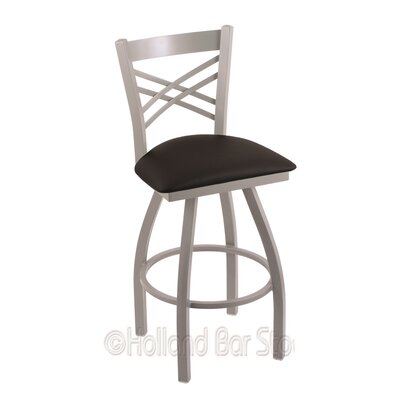 Catalina 30 Swivel Bar Stool Finish: Anodized Nickel, Upholstery: Black Vinyl
