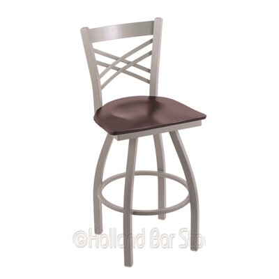 Catalina 25 Swivel Bar Stool Base Finish: Anodized Nickel, Upholstery: Dark Cherry Maple