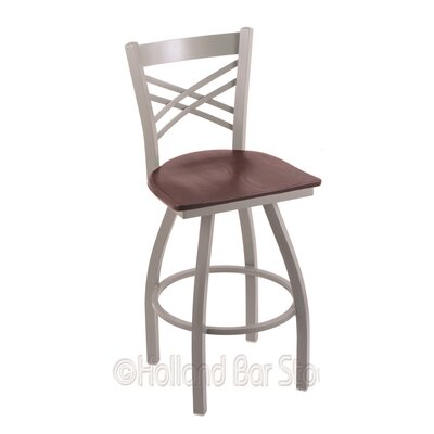 Catalina 25 Swivel Bar Stool Base Finish: Anodized Nickel, Upholstery: Dark Cherry Oak