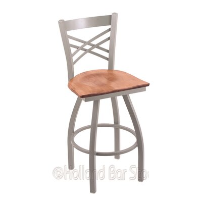 Catalina 30 Swivel Bar Stool Base Finish: Anodized Nickel, Upholstery: Medium Maple