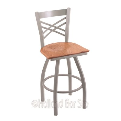 Catalina 30 Swivel Bar Stool Base Finish: Anodized Nickel, Upholstery: Medium Oak