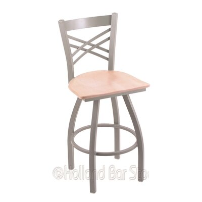 Catalina 25 Swivel Bar Stool Base Finish: Anodized Nickel, Upholstery: Natural Maple