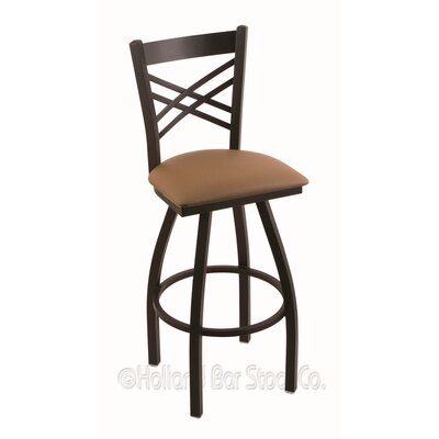 Catalina 36 Swivel Bar Stool Finish: Black Wrinkle, Upholstery: Allante Beechwood