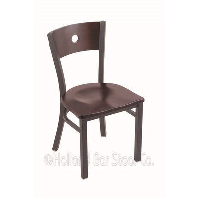 Voltaire Solid Wood Dining Chair Base Finish: Pewter, Upholstery: Dark Cherry Maple