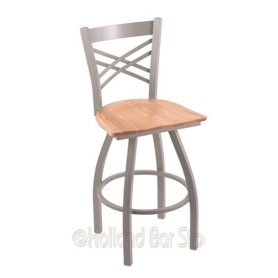 Catalina 25 Swivel Bar Stool Base Finish: Anodized Nickel, Upholstery: Natural Oak