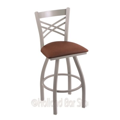 Catalina 25 Swivel Bar Stool Finish: Anodized Nickel, Upholstery: Rein Adobe
