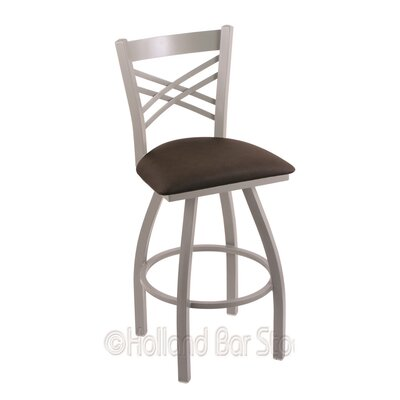 Catalina 25 Swivel Bar Stool Finish: Anodized Nickel, Upholstery: Rein Coffee