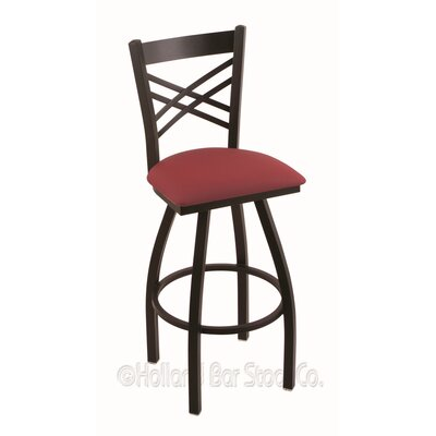 Catalina 36 Swivel Bar Stool Finish: Black Wrinkle, Upholstery: Allante Wine