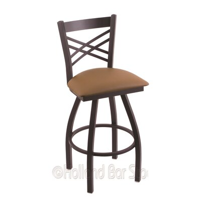 Catalina 30 Swivel Bar Stool Finish: Black Wrinkle, Upholstery: Allante Beechwood