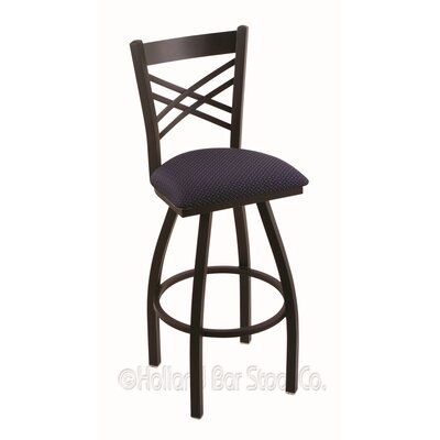 Catalina 30 Swivel Bar Stool Upholstery: Axis Denim, Finish: Black Wrinkle
