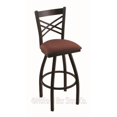 Catalina 25 Swivel Bar Stool Finish: Black Wrinkle, Upholstery: Axis Paprika