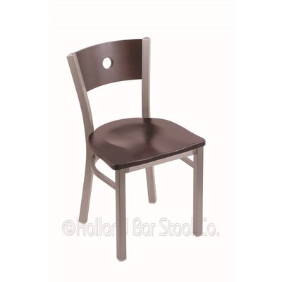Voltaire Solid Wood Dining Chair Upholstery: Dark Cherry Maple, Base Finish: Stainless