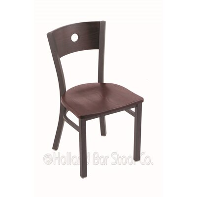 Voltaire Solid Wood Dining Chair Base Finish: Pewter, Upholstery: Dark Cherry Oak