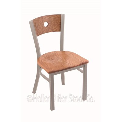 Voltaire Solid Wood Dining Chair Base Finish: Anodized Nickel, Upholstery: Medium Oak