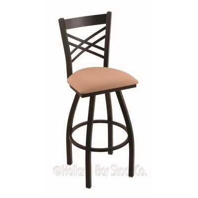 Catalina 25 Swivel Bar Stool Finish: Black Wrinkle, Upholstery: Axis Summer