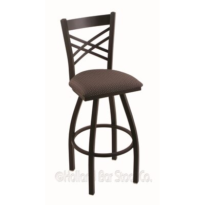 Catalina 25 Swivel Bar Stool Finish: Black Wrinkle, Upholstery: Axis Truffle