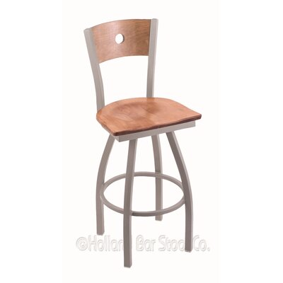 Voltaire 30 Swivel Bar Stool Base Finish: Anodized Nickel, Upholstery: Medium Maple