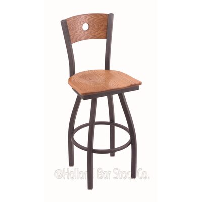 Voltaire 30 inch Swivel Bar Stool Upholstery: Medium Oak, Base Finish: Pewter