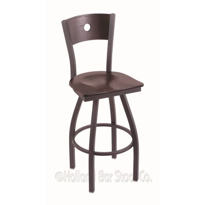 Voltaire 25 inch Swivel Bar Stool Upholstery: Dark Cherry Maple, Base Finish: Pewter