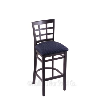 25 Bar Stool Finish: Black, Upholstery: Axis Denim