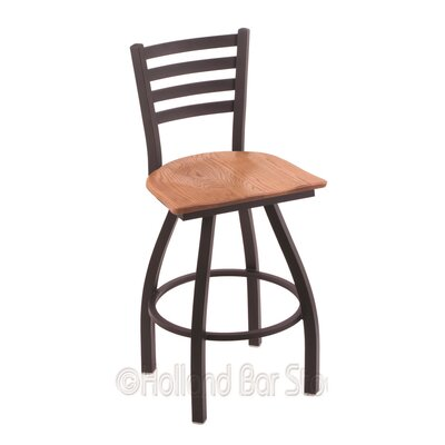Jackie 30 Swivel Bar Stool Base Finish: Black Wrinkle, Upholstery: Medium Oak