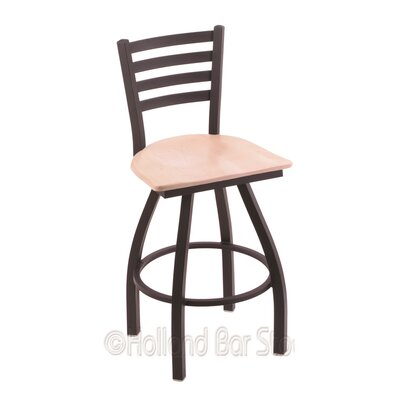 Jackie 25 Swivel Bar Stool Base Finish: Black Wrinkle, Upholstery: Natural Maple