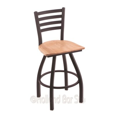 Jackie 36 Swivel Bar Stool Base Finish: Black Wrinkle, Upholstery: Natural Oak