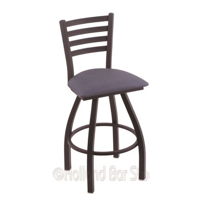 Jackie 30 Swivel Bar Stool Finish: Black Wrinkle, Upholstery: Rein Bay