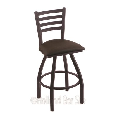 Jackie 25 Swivel Bar Stool Finish: Black Wrinkle, Upholstery: Rein Coffee