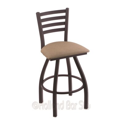 Jackie 25 Swivel Bar Stool Finish: Black Wrinkle, Upholstery: Rein Thatch