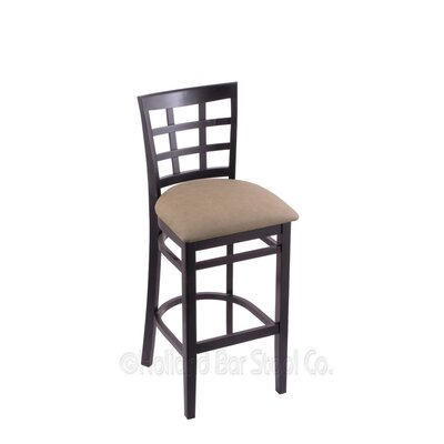 25 Bar Stool Finish: Black, Upholstery: Rein Thatch