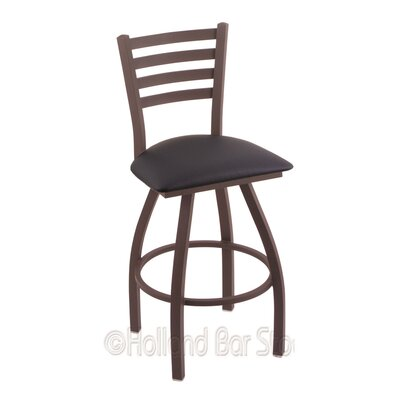Jackie 25 Swivel Bar Stool Finish: Bronze, Upholstery: Allante Dark Blue
