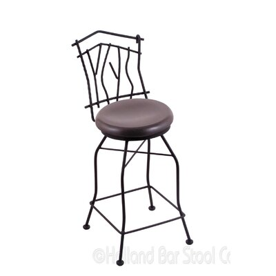 Aspen 25 Swivel Bar Stool Upholstery: Dark Cherry Oak