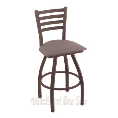 Jackie 25 Swivel Bar Stool Finish: Bronze, Upholstery: Allante Medium Grey