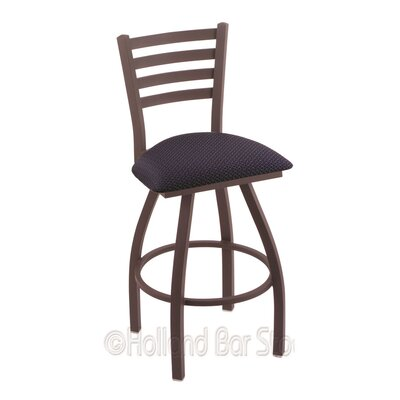 Jackie 25 Swivel Bar Stool Finish: Bronze, Upholstery: Axis Denim