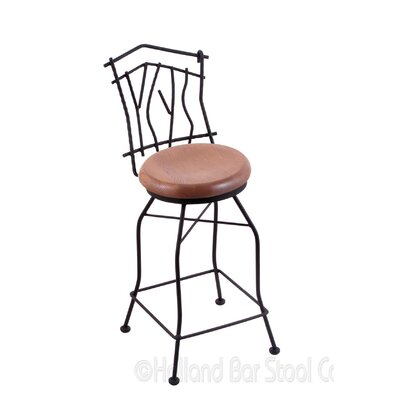 Aspen 25 Swivel Bar Stool Upholstery: Medium Oak