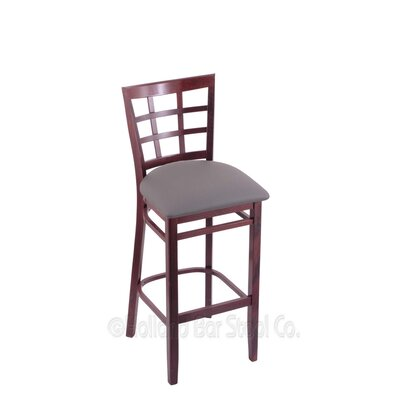 25 Bar Stool Finish: Dark Cherry, Upholstery: Allante Medium Grey