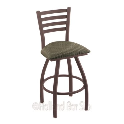 Jackie 25 Swivel Bar Stool Finish: Bronze, Upholstery: Axis Grove