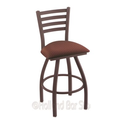 Jackie 30 Swivel Bar Stool Upholstery: Axis Paprika, Finish: Bronze