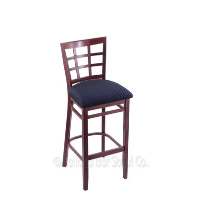 25 Bar Stool Finish: Dark Cherry, Upholstery: Axis Denim