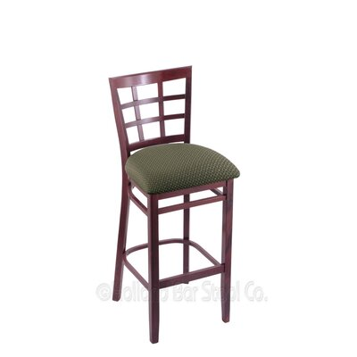 25 Bar Stool Finish: Dark Cherry, Upholstery: Axis Grove