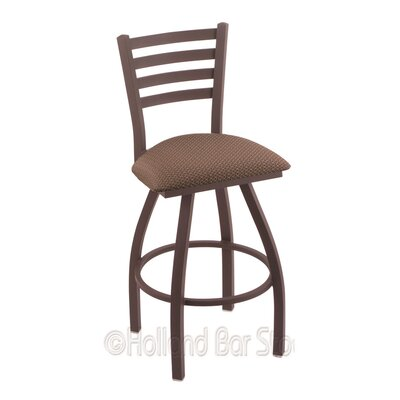 Jackie 30 inch Swivel Bar Stool Upholstery: Axis Willow, Finish: Bronze
