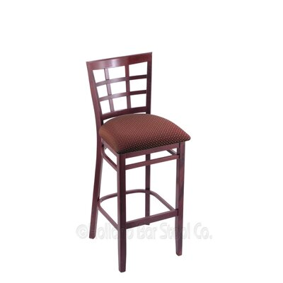 30 Bar Stool Finish: Dark Cherry, Upholstery: Axis Paprika