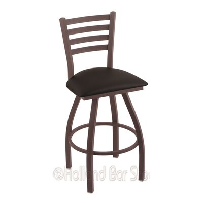 Jackie 30 Swivel Bar Stool Finish: Bronze, Upholstery: Black Vinyl