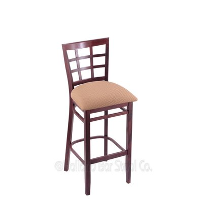 30 Bar Stool Finish: Dark Cherry, Upholstery: Axis Summer