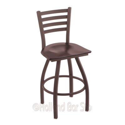 Jackie 30 Swivel Bar Stool Base Finish: Bronze, Upholstery: Dark Cherry Maple