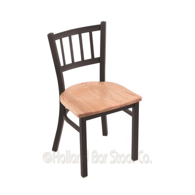Contessa Solid Wood Dining Chair Base Finish: Black Wrinkle, Upholstery: Natural Oak