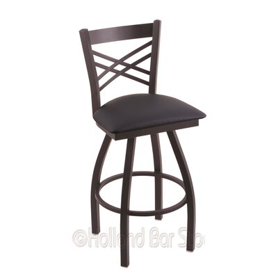 Catalina 36 Swivel Bar Stool Finish: Black Wrinkle, Upholstery: Allante Dark Blue