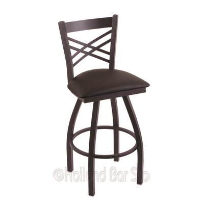 Catalina 25 Swivel Bar Stool Finish: Black Wrinkle, Upholstery: Allante Espresso