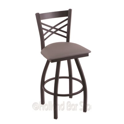 Catalina 25 Swivel Bar Stool Finish: Black Wrinkle, Upholstery: Allante Medium Grey